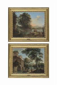an italianate landscape with figures resting by a stream near a ruined castle; an italianate landscape with herdsmen and their cattle and goats by a stream (pair) by andrea locatelli