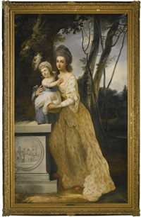 portrait of a lady and her child by francis cotes