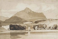 a boat on a lake in a mountainous landscape by john sell cotman