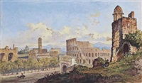 the colosseum, rome (illustrated); figures before the forum, rome; and castel sant'angelo and st. peter's viewed from across the tiber (3 works) by jacob george strutt