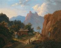 gebirgslandschaft mit rastenden wanderern by matthias rudolf toma