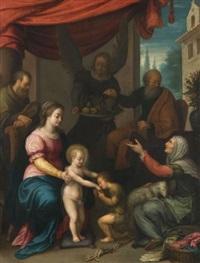 sainte famille avec saint jean-baptiste et ses parents by girolamo muziano
