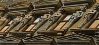 wiener hausfassade mit karyatiden: entwurf für ein plakat der wiener wohnhaus-sanierungsaktion by franz zadrazil