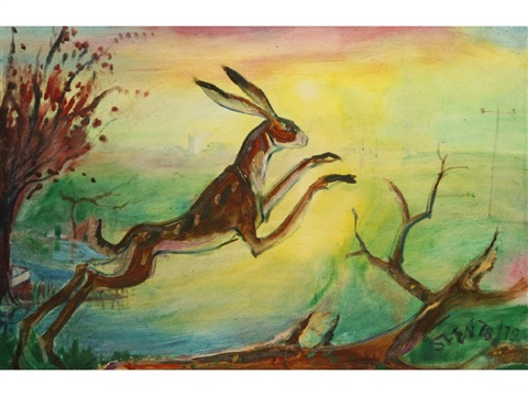 a hare leaping at sunset in a landscape by sven berlin