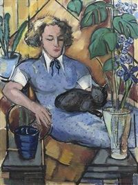 woman with a cat by louis saalborn