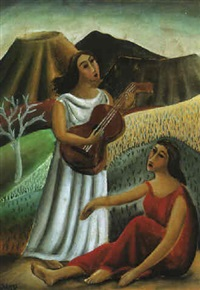 dos mujeres con guitarra by francisco gutierrez rivera