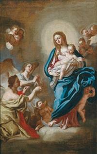 madonna mit kind auf der mondsichel, von adorierenden engeln umgeben (madonna con angeli) by ludovico mazzanti