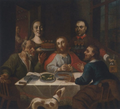 the supper at emmaus with two donors by austrian school tyrolean 17
