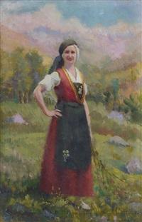 figura femminile in abito della valle d'aosta by giuseppe sobrile