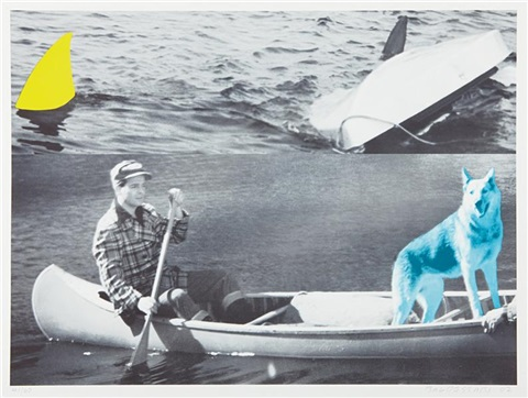man dog blue canoe shark fins one yellow capsized boat by john baldessari
