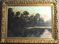 paysage lacustre au crépuscule by maurice l.p.j. lessertisseux