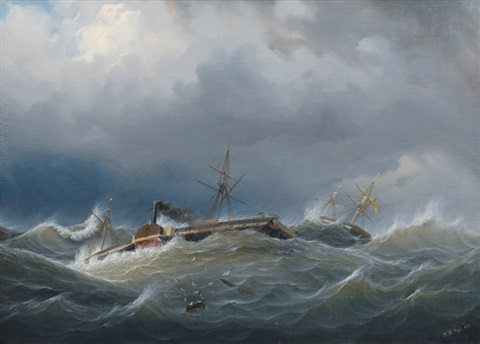 paddle steamer and two master in choppy sea by johann baptist weiss
