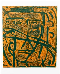 untitled (faces) (a suite of five works) by james brown