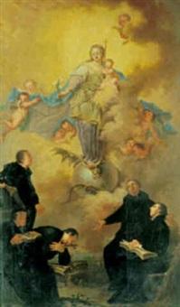 madonna med barnet stående på måneseglet, i forgrunden præster by ignaz joseph raab