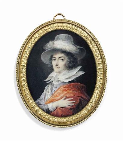 count josef johann von fries (1765-1788), in purple silk jacket, white shirt with large double standing lawn collar by friedrich heinrich füger