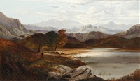 highland loch scene with farmer and sheep on the bank by charles leslie