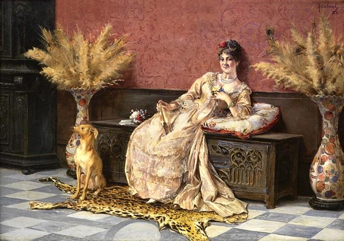 retrato de dama recostada sobre un arcón acompañada por su perrito by enrique cabral y llano