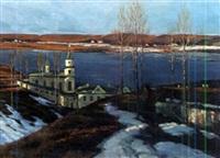 russisches kloster an einem fluss by wladimir jettel