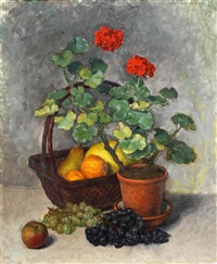 still life with fruit and potted geranium by kalman kemeny