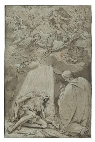 san pafnuzio vescovo di tebe visita santonofrio by giovanni battista paggi