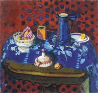 still life in red and blue by mariana edna volz