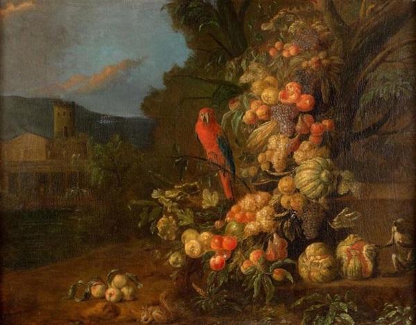 composition de fruits avec un ara un singe et un écureuil sur un fond paysager by jan pauwel gillemans the younger