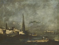 capriccio landscape with an obelisk and a maritime pine tree, with figures beside the water by francesco guardi