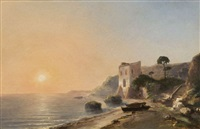 soleil couchant sur un rivage provençal by auguste louis laurent aiguier