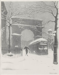 washington arch in snow by ellison hoover