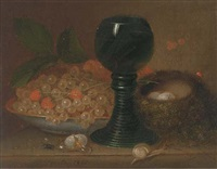 still life with currants, a glass, bird's nest and eggs to the side by george foster