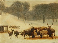 deer by the wagon with hay, a snowy day in the deer park copenhagen by otto bache