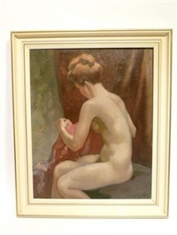femme nue assise de profil by alfred martin