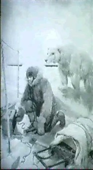 man with radio, polar bear behind him by henry j(arvis) peck