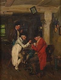 drei alte herren im biedermeiergewand diskutieren in der wirtsstube by wilhelm roegge the younger