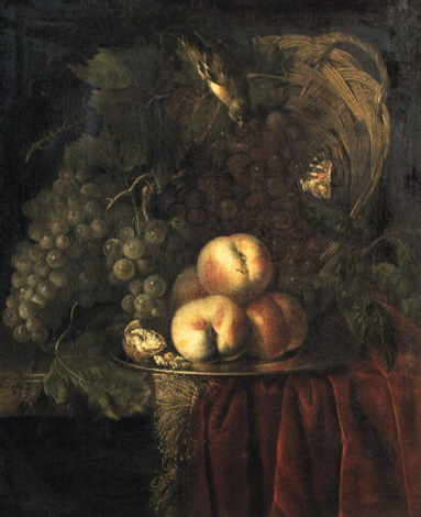 grapes in an upturned basket peaches and walnuts on a plate  by nicolaes lachtropius