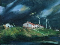 la ferme et soir d'orage (2 works) by jean-gabriel domergue