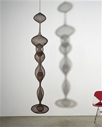untitled s.437 (hanging, seven-lobed, two-part continuous form within a form with two small spheres) by ruth asawa