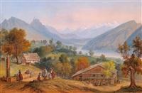 landschaft im kanton schwyz mit dem lauerzer see by carl martin laeisz