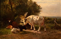 resting cows on a summer afternoon by gerard johannes bos