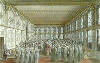 the reception of an ambassador by the grand vizier at topkapi palace, constanstinople by nicolas louis de lespinasse