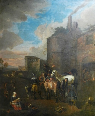 the forge cavalry men outside the city walls by pieter van bloemen