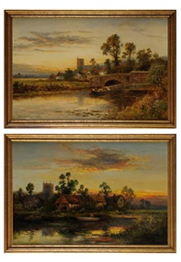 scenes of riverside villages at sunset (pair) by william langley