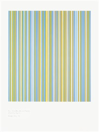 three colours (blue, yellow & turquoise) precipitating magenta by bridget riley