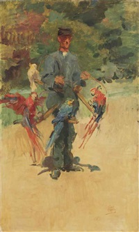 the parrotman: the guard ponsen in the zoo, the hague by isaac israels