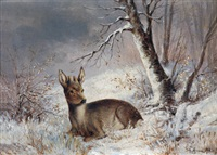 rehbock in winterlandschaft by joseph wolfram