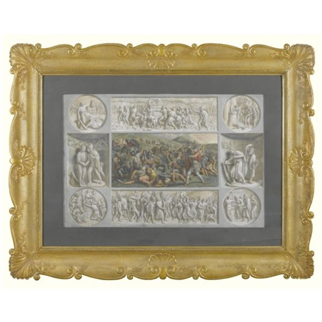a roman battle scene bordered by eight grisaille panels by luigi ademollo