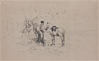halte du cavalier, la promenade, les trois balayeurs (3 works) by filippo liardo