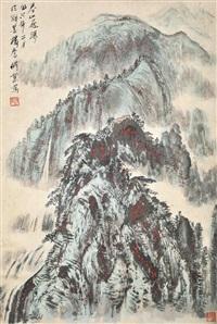 春山飞瀑 by qiao xiuye