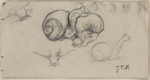 studies of snails and a head study double sided by jean françois millet
