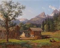 im berchtesgadener land, bauernhof in der ramsau mit dem kleinen und dem großen watzmann by johann josef rauch